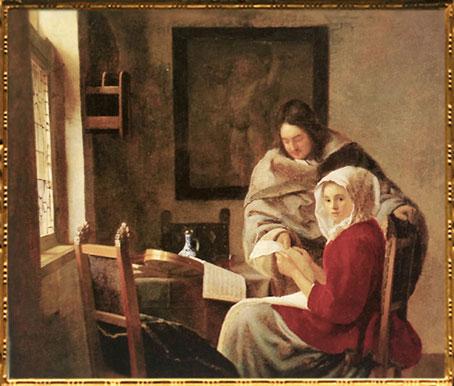 D'après La Leçon de Musique Interrompue, Johannes Vermeer, 1660-1661. (Marsailly/Blogostelle)