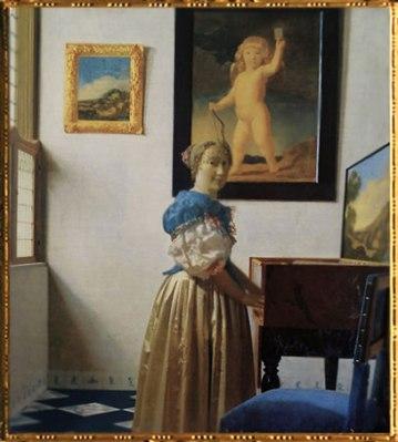 D'après Une Dame debout au virginal, Johannes Vermeer, 1672-1673, IVMeer. (Marsailly/Blogostelle)