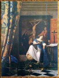 D'après L'Allégorie de la Foi, Johannes Vermeer, 1670- 1674, une œuvre peinte à la fin de la vie de l'artiste. (Marsailly/Blogostelle)