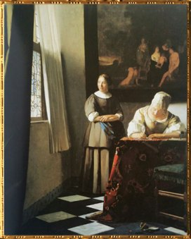 D'après La Dame Écrivant une Lettre et sa Servante, Johannes Vermeer, 1670 apjc, IVMeer. (Marsailly/Blogostelle)
