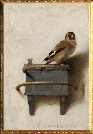 D'après Le Chardonneret, petit tableau peint par Carel Fabritius en 1654. (Marsailly/Blogostelle)