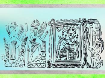 D'après le dieu Ea des Eaux Douces sur son trône, détail, cylindre d'Ur, vers 2300-2200 avjc, époque d'Agadé, Mésopotamie. (Marsailly/Blogostelle)
