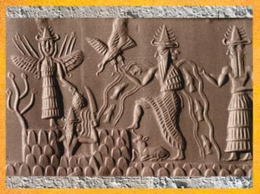 D'après le sceau du scribe Adda, détail, vers 2350-2200 avjc époque d'Agadé, Mésopotamie. (Marsailly/Blogostelle)