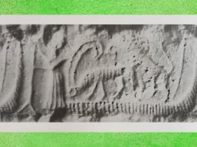 D'après des Animaux sur un bateau, sceau, vers 2300 avjc, période d'Agadé, Girsu-Tello, Mésopotamie. (Marsailly/Blogostelle)