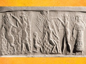 D'après la Victoire de Nergal, Soleil brûlant de l'été, accompagné de Gibil, personnification du Feu, vers 2350 - 2200 avjc période d'Agadé. (Marsailly/Blogostelle)