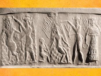 D'après le triomphe de Nergal, Soleil brûlant de l'été, accompagné de Gibil, personnification du Feu,tous deux munis de torches, vers 2350 - 2200 avjc période d'Agadé,Mésopotamie. (Marsailly/Blogostelle)