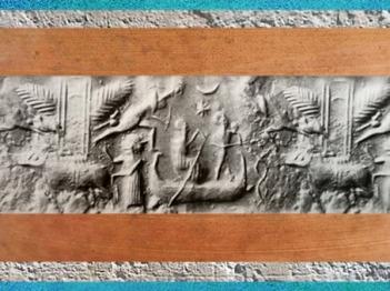 D'après un dieu-bateau et temple ailé, empreinte de sceau, vers 2300 avjc, période d'Agadé, Mésopotamie. (Marsailly/Blogostelle)