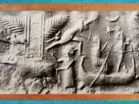 D'après un dieu-bateau et temple ailé, détail, empreinte de sceau, vers 2300 avjc, période d'Agadé, Mésopotamie. (Marsailly/Blogostelle)