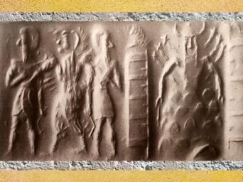 D'après le dieu Soleil flamboyant prisonnier de la montagne et temple, empreinte de sceau, vers 2300 avjc, période d'Agadé. Mésopotamie. (Marsailly/Blogostelle)