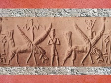 D'après les dieux de l'Orage armés de leur foudre, et dragons, empreinte de sceau, vers 2300 avjc, période d'Agadé, Mésopotamie. (Marsailly/Blogostelle)