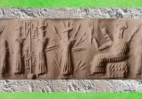 D'après les Épis de la Déesse trônant et les Rameaux du dieu de la Végétation (Dumuzi), empreinte de sceau, vers 2300 avjc, période d'Agadé, Mésopotamie. (Marsailly/Blogostelle)