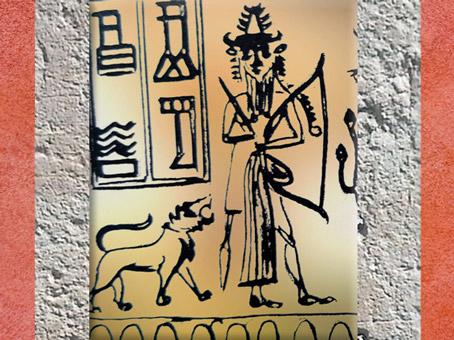 D'après une image du Dieu Guerrier avec son Arc, détail, sceau du scribe Adda, vers 2300 avjc, période d'Agadé, Mésopotamie. (Marsailly/Blogostelle)