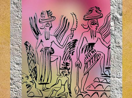 D'après Shamash et son couteau, un petit dieu, un dieu guerrier armé (Ninurta), vers 2300 avjc, période d'Agadé, Mésopotamie. (Marsailly/Blogostelle)