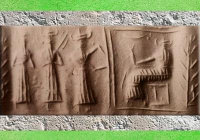 D'après un trio de déités, dont le dieu Flamme et un dieu guerrier armé (Ninurta), et Enki-Ea trônant dans son temple carré, vers 2300 avjc, période d'Agadé, Mésopotamie. (Marsailly/Blogostelle)