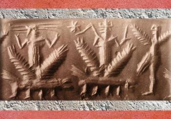 D'après le Dieu-Foudre de l'Orage, dragons et Homme-Oiseau, vers 2300 avjc, période d'Agadé, Mésopotamie. (Marsailly/Blogostelle)