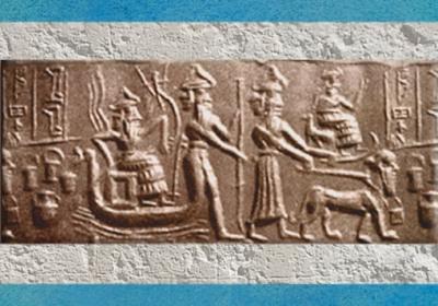 D'après le dieu Flamme sur un Bateau-serpent et charrue, vers 2340-2200 avjc, période d'Agadé. (Marsailly/Blogostelle)