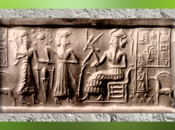 D'après une scène de présentation par une déité à un dieu trônant, qui porte une charrue-attribut, étoile et sphères célestes, sceau dit VA243, Uruk, période d'Agadé, Mésopotamie. (Marsailly/Blogostelle)