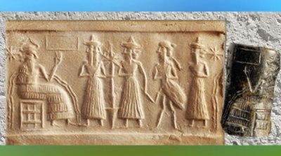 D'après le dieu Ea sur son trône, scène mythique, cylindre d'Ur, vers 2300-2200 avjc, époque d'Agadé, Mésopotamie. (Marsailly/Blogostelle)