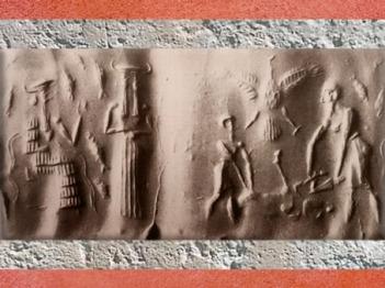 D'après Ea et son assistant aux Deux Visages, Ushmu, et scène de Sacrifice, vers 2300 avjc, période d'Agadé, Mésopotamie. (Marsailly/Blogostelle)