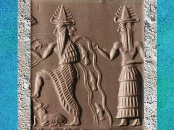 D'après Ea et son assistant Ushmu à deux visages, détail, sceau scribe Adda, vers 2350-2200 avjc, période d'Agadé, Mésopotamie. (Marsailly/Blogostelle)