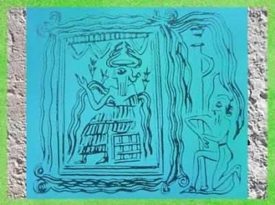 D'après le dieu Enki-Ea sur son trônant dans sa demeure, détail, empreinte de sceau, Ur, vers 2300-2200 avjc, époque d'Agadé, Mésopotamie. (Marsailly/Blogostelle)