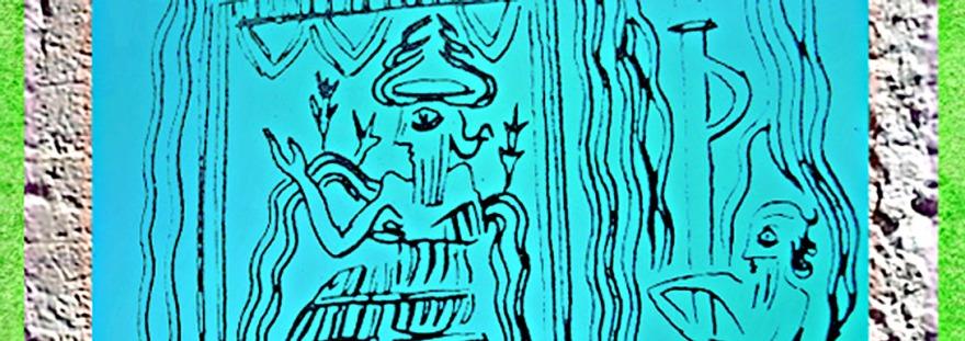 D'après le dieu Ea sur son trône, Mésopotamie ouverture. (Marsailly/Blogostelle)