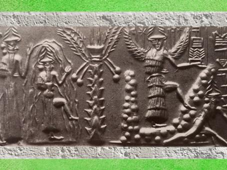 D'après les flots en cloche d'Enki-Ea, sceau du scribe Zagganita, vers 2300 avjc, période d'Agadé, Mésopotamie. (Marsailly/Blogostelle)