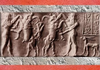 D'après une scène de combat, héros, buffles et petit dragon, vers 2300 avjc, période d'Agadé, Mésopotamie. (Marsailly/Blogostelle)