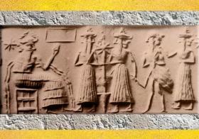 D'après Enki-Ea et son acolyte Ushmu aux Deux Visages, personnage-oiseau, vers 2300 avjc, période d'Agadé, Mésopotamie. (Marsailly/Blogostelle)