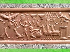 D'après la figure de l'homme-oiseau et troupeau, empreinte de sceau, vers 2300 avjc, période Agadé. (Marsailly/Blogostelle)