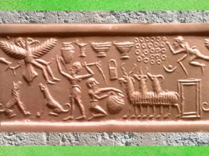 D'après la figure de l'homme-oiseau et troupeau, empreinte de sceau, vers 2300 avjc,période d'Agadé, Mésopotamie. (Marsailly/Blogostelle)