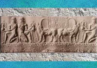 D'après des acolytes d'Enki-Ea, porteurs de vases jaillissants qui abreuvent les troupeaux, vers 2300 avjc, période d'Agadé, Mésopotamie. (Marsailly/Blogostelle)