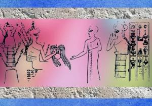 D'après le Vase Jaillissant porté par la Déesse aux Épis, bulle de Girsu-Tello, vers 2250 avjc, époque de Naram-Sîn, période d'Agadé, Mésopotamie. (Marsailly/Blogostelle)