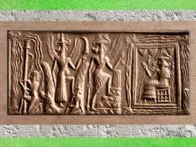 D'après Enki-Ea, dieu de l'Abîme et des Eaux Douces, cylindre d'Ur, vers 2300-2200 avjc, époque d'Agadé, Mésopotamie. (Marsailly/Blogostelle)