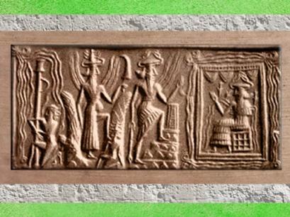 D'après Enki-Ea, dieu de l'Abîme et des Eaux Douces, cylindre d'Ur, vers 2300-2200 avjc, époque d'Agadé. (Marsailly/Blogostelle)