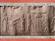 D'après les carpes d'Enki-Ea et arbre-pilier sacré, empreinte de sceau, IIe millénaire avjc. (Marsailly/Blogostelle)
