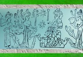 D'après Enki-Ea et ses Flots, deux déités-arbres, la Terre Ningursag, la déesse-mère Nammu et Enlil, père d'Ea, sceau, Mari, Syrie. (Marsailly/Blogostelle)