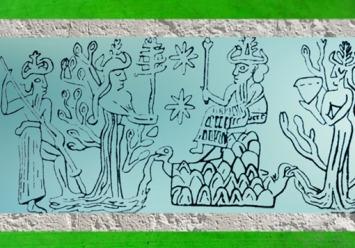 D'aprèsEnki-Ea trônant, Ningursag, et Nammu et Enlil (père de Enki-Ea), empreinte de sceau, Mari, Syrie, III millénaire avjc, Mésopotamie. (Marsailly/Blogostelle)