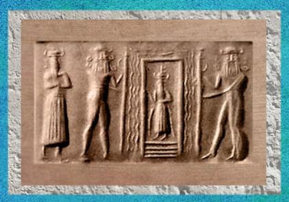 D'après la Maison de l'Eau du dieu Ea, vers 2340-2200 avjc, période d'Agadé, Mésopotamie. (Marsailly/Blogostelle)