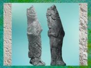 D'après deux poissons-carpes anthropomorphes, terre cuite, cité babylonienne de Ninive, Assyrie. (Marsailly/Blogostelle)