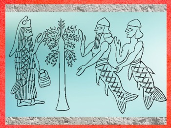D'après les Sept Sages dits Apkallu en akkadien, Agbal en sumérien, VIIe siècle avjc, Ninive, Assyrie. (Marsailly/Blogostelle)