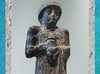 D'après la statue de Gudea de Lagash, dite au Vase Jaillissant, dédiée à la déesse Geshtinanna, vers 2120 ans avjc, époque néo-sumérienne, antique Girsu-Tello, Mésopotamie. (Marsailly/Blogostelle)