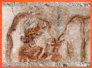 D'après la Déesse au Vase Jaillissant, palais de Mari, Investiture du roi Zimri-Lim, détail, vers 1775 avjc -1760 avjc, actuelle Syrie, Mésopotamie. (Marsailly/Blogostelle)