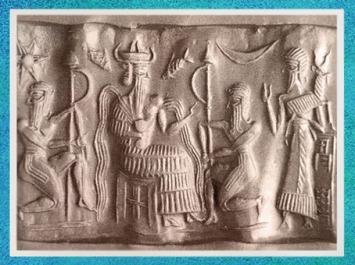 D'après le dieu Ea, poissons et signes astraux, IIe millénaire avjc, empreinte de sceau, Mésopotamie. (Marsailly/Blogostelle)