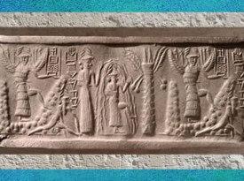 D'après le sceau du scribe Zagganita, déités guerrières ailées, le dieu des Eaux Ea et un palmier en fruits, vers 2200 avjc époque d'Agadé, Mésopotamie. (Marsailly/Blogostelle)