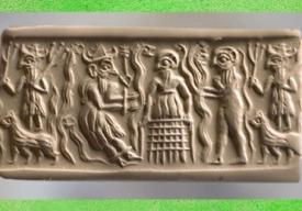 D'après un dieu de la végétation, possible équivalent ancestral de Dumuzi, vers 2500 avjc, dynastie archaïques, Irak, Mésopotamie. (Marsailly/Blogostelle)