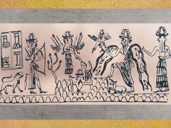 D'après la Grande Déesse, le dieu des Flots Enki-Ea et le dieu Flammes-solaire, sceau du scribe Adda, vers 2300 avjc, époque d'Agadé, Mésopotamie. (Marsailly/Blogostelle)