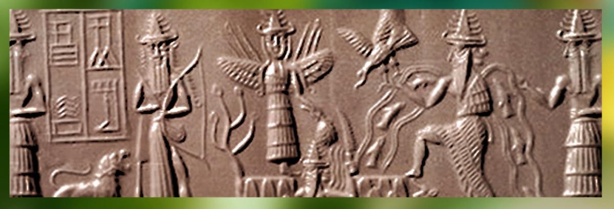D'après l'épiphanie des Dieux, coiffés de tiares à cornes, vers 2300 avjc, époque d'Agadé, Mésopotamie. (Marsailly/Blogostelle)