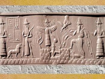 D'après l'épiphanie des Dieux : la Grande Déesse, le dieu des Flots Enki-Ea et son assistant, une déité guerrière, et le dieu solaire et ses Flammes qui émerge de la montagne sceau du scribe Adda, vers 2300 avjc, époque d'Agadé. (Marsailly/Blogostelle)