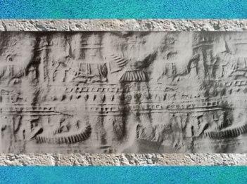 D'après des représentations du Dieu-Bateau avec rameau et monde céleste, cylindre gravé, vers 2300 avjc, époque d'Agadé, Mésopotamie. (Marsailly/Blogostelle)